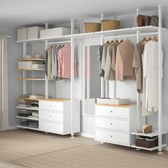 ELVARLI 5 sections, white, bamboo. ELVARLI storage system adapts to your space. The open solution with durable bamboo shelves creates an attractive display of your belongings. Ikea Elvarli, Ikea Pax, Bedroom Furniture, Bedroom Decor, Master Bedroom, No Closet Bedroom, Closet Wall, Master Suite, Closet Dresser
