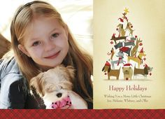 "Dog Christmas Tree - PAPYRUS Cards - Photo Christmas Card. Depicting a Christmas tree forged of holiday dogs, this adorable Christmas card is the perfect way to send holiday cheer. Just select a photo of the family (dog included!) to send holiday cheer to everyone on your list. 7"" x 5"" Flat Card. Price: $2.19"