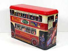 "Vintage Large British Bus Tin - London Double-Decker Red Bus, General ""Pimlico""…"