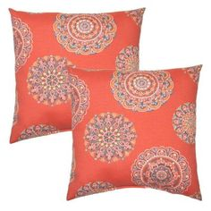 Hampton Bay 16 in. Blush Medallion Outdoor Toss Pillow (2-Pack)-7050-02225400 - The Home Depot