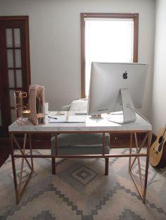 Marble + Rose Gold Desk fox and gypsy Wayfair Desk Hack