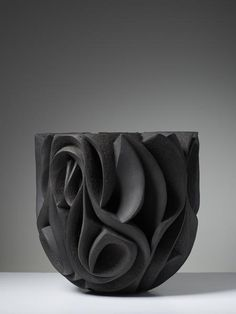 Halima Cassell, Pa-Kua, gallery Joanna Bird / Oooooh man, this #ceramic vessel looks like sandcarved glass! So incredible.