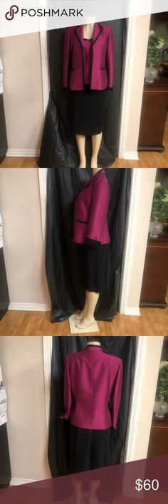 3 piece wine and black skirt suit 3 piece suit have black skirt , wine top with wine/black jacket Kasper Other