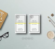 Business Card Template | Fashion Calling Card | Printable Business Card PSD Template | Floral Business Card Design| Instant Download