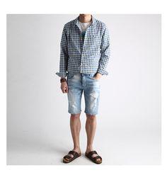 [존클락 단독할인]페인팅 데미지 5~6부 청반바지-jean24 - [존클락]30대 남자옷쇼핑몰, 깔끔한 캐쥬얼 데일리룩, 추천코디