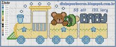 Cute Cross Stitch, Cross Stitch Charts, Cross Stitch Patterns, Embroidery Stitches, Embroidery Designs, Choo Choo Train, Baby Kind, Cross Stitching, Baby Toys