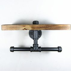 Urban Industrial Iron Pipe Wall Mount Double Toilet Paper Holder With Wood Shelf