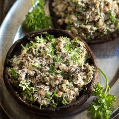 Delicious Stuffed Mushrooms with Sunflower Sage Cream and Rosemary. This raw recipe is great for dinner parties.