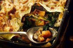Perfect veggie winter warmer - butternut squash, spinach and mushroom lasagne. Delicious