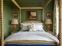 Green and brown bedroom gorgeous farmhouse four poster bed in green bedroom green and brown room . green and brown bedroom Green Rooms, Bedroom Green, Green Walls, Gold Bedroom, White Bedroom Furniture, Bedroom Decor, Bedroom Ideas, Bedroom Photos, Bedroom Office