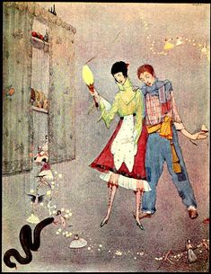 """""""A long black pudding came winding and wriggling towards her"""" -'The Ridiculous Wishes' from The Fairy Tales of Charles Perrault / translated by Robert Samber and J. E. Mansion, illustrated by Harry Clarke"""