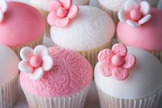 These baby shower cupcakes made for imminent arrival of a baby girl.