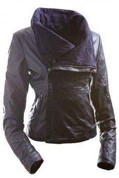f239ee2d937 E Funk Women s 100 % Lamb Leather Fitted Asymmetric Jacket Moda 2015