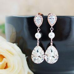 Swarovski and pearls bridal earrings