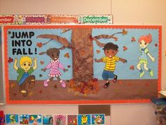 "My welcome to school bulletin board I made in college. ""Jump into fall!"""