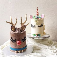 Must Have: Unicorn Cake. KEK & Co.'s Christmas cakes rides on the current worldwide unicorn cake trend – and a fun interpretation on the reindeer cake! Pretty Cakes, Cute Cakes, Beautiful Cakes, Reindeer Cakes, Drip Cakes, Occasion Cakes, Fancy Cakes, Christmas Baking, Christmas Cakes