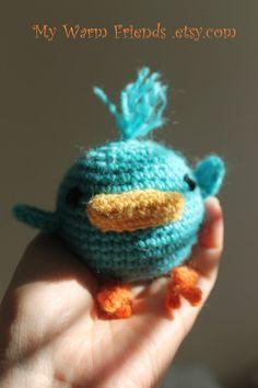 DUCK  Amigurumi Duckling  Crochet baby rattle by MyWarmFriends, €12.00