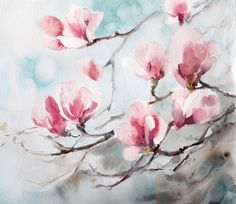 Magnolia Blossoms Original Watercolor Painting, Watercolour Art Flowers Painting Pink Green Floral Modern Art by CanotStop on Etsy