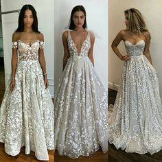 These are exactly the wedding dresses I adore !- These are exactly the wedding dresses I adore ! Floral applications, lace, color, summer style, this neckline… Absolutely perfect ! Dream Wedding Dresses, Bridal Dresses, Wedding Gowns, Bridesmaid Dresses, Prom Dresses, Formal Dresses, Lace Wedding, Gorgeous Wedding Dress, Event Dresses