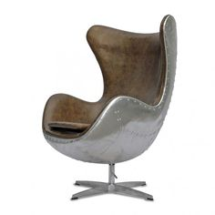 A special edition Spitfire Egg chair. We have updated the original famous Arne Jacobsen design to feature a hand crafted aluminium rivited back inspired by the classic World War 2 Spitfire look.