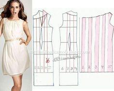 TRANSFORMAÇÃOMOLDE DE VESTIDO Desenheo molde de vestido (base). Desenhea linha no decote para a rotação da pinça/pence. Copiepara papel feche no ombro