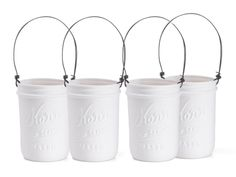 Ceramic Votive Mason Jar Lanterns.