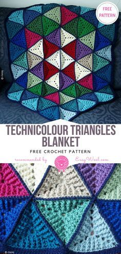 Technicolour Triangles Blanket Free Crochet Pattern on easywool.com #crochetfreepatternforbaby #crochetfreepatternforblanket #crochetbabyblanket #crochetstitch #crochet #crochetfreepatternsforlady #crochet #shellstitch #freecrochetPatterns #freecrochetPatterns #afghan #freecrochetPatternsforafghan #freecrochetPatternsforblanket #crochetstitch #crochet #crochetfreepatternsforhome #afghan #freecrochetPatternsforafghan #freecrochetPatternsforblanket #crochetstitch #crochet