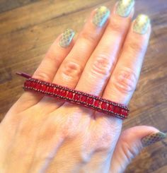 Red Bohemian Wrap bracelet Czech glass beads and leather cord