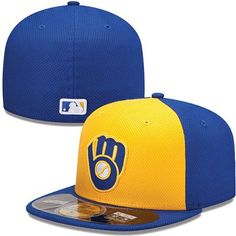 69ee88137d3 Milwaukee Brewers New Era MLB Diamond Tech 5950 Fitted Hat (Yellow)  Baseball Clothes