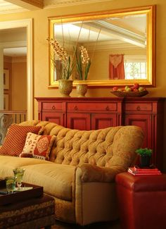 Gold and Red Living Room ~ I love these colors together.