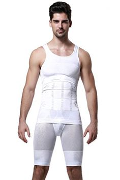 297b11768c2 GKVK Mens Slimming Body Shaper Vest Shirt Abs Abdomen Slim White Mchest  size 86cm91cm34inches36inches