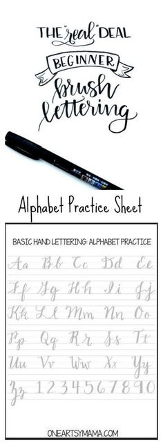 Cursive alphabet: Brush Lettering Practice Page Lettering Brush, Creative Lettering, Lettering Ideas, Lettering Styles, Lettering Tutorial, Alphabet Practice Sheets, Fancy Writing, Pretty Writing, Handwriting Fonts