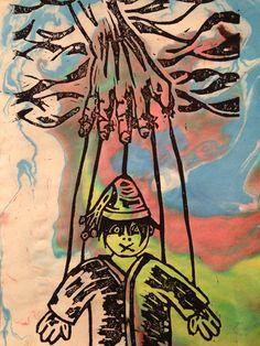 puppet of religion -lino & monotype-