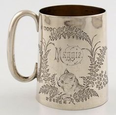 A Victorian silver mug by Aldewinckle and Slater, London engraved with a cat within foliate borders Antique Fairs, Baby Christening, Primitive Antiques, Silver Spoons, Beautiful Gifts, Primitives, Cat Art, Antique Furniture, Antique Silver