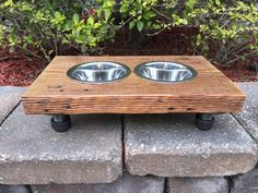 Mini / Small Dog or Cat Reclaimed Wood & Iron 2 Bowl Pet