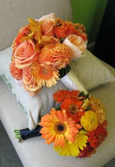 light shades of orange for wedding flower.  need to mix with blues, whites, green, and some berries