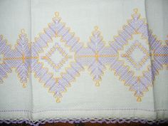 Embroidered Cotton Towl Purple and Yellow on White by mrsknepp, 5.70