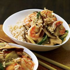Shrimp-and-Bok Choy Stir-Fry with Crispy Noodles // More Fast and Tasty Asian Noodle Recipes: http://www.foodandwine.com/slideshows/fast-asian-noodles-and-ramen-recipes #foodandwine