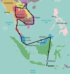 Southeast Asia backpacking route