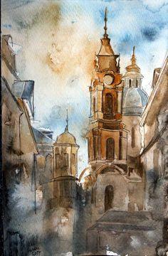 Vienna- original watercolor by SalSusan on Etsy
