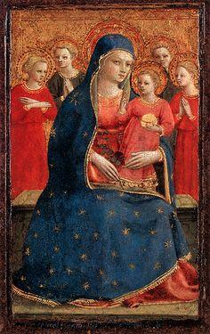 Fra Angelico (Italian painter, Madonna & Child with Angels 1425 Fra Angelico, Lady Madonna, Madonna And Child, Madonna Art, Italian Renaissance, Renaissance Art, Catholic Art, Religious Art, Detroit Art