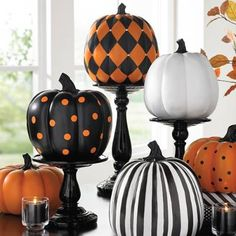 painted pumpkins Scare up an illusory display skip the carving our bejeweled orange-and-black painted pumpkin. Designer Harlequin Pumpkin features a distinctive geometric p Casa Halloween, Halloween Mantel, Halloween Home Decor, Halloween Season, Halloween Crafts, Halloween Halloween, Halloween Makeup, Women Halloween, Halloween Costumes