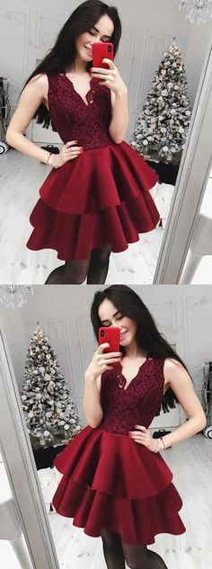 New Arrival Cute A-Line V-Neck Lace Top Red Cheap Homecoming Dress, HD0405#homecoming #homecomingdresses #2020homecoming #homecomingdress