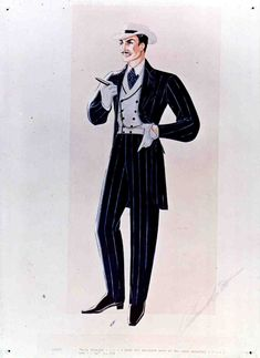 Costume sketch of black suit and white hat as worn by  Rhett Butler, by designer Walter Plunkett.