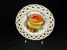 Lefton China Hand painted plate w/ reticulated rim Wall Hanging Vintage  #LeftonChina