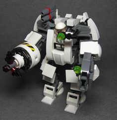 Myrmidon (Heavy Assult Mech) Single pilot, Pulse opperated laser, Wrist mounted RPG, 400m homing projectile radius. Good for hardcore riot control / anti-vehicular assult.