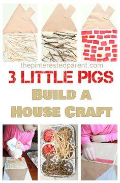 Three Little Pigs kid's Craft & activity - Build a straw, stick & brick house.