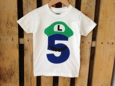 Mario Bros. Luigi Birthday shirt with a blue number. by leoandlyla, $17.00