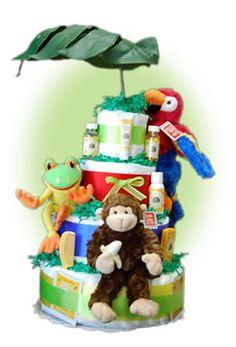 Rainforest Theme diaper cake