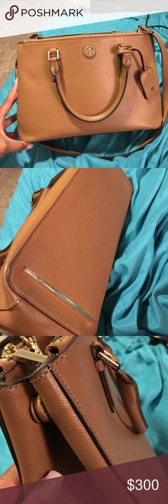 Tory burch mini double zip Robinson Color is tigers eye, zipper works fine. From the full price store in 2015 Tory Burch Bags Satchels